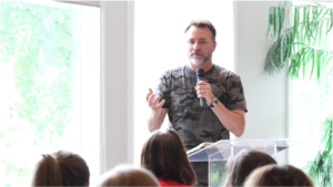 Guest worship leader and speaker Mark Stevens sharing at the Nashville Mercy home