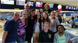 Current Mercy St. Louis residents enjoyed their evening out at the bowling lanes.