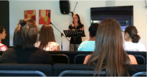 U.S. Mercy Executive Director, Christy Singleton, speaking at Canada Mercy home