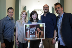 Battistelli with husband and manager Matthew Goodwin (center couple) and Word Entertainment representatives Rod Riley, Kellyn Bailey, and Josh Bailey.