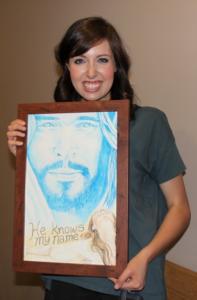 Mercy gifted Battistelli with an original art piece by Karen Harvey.