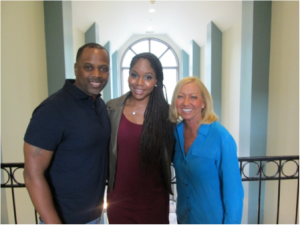 Pastor Touré Roberts and wife Sarah with Mercy Founder and President Nancy Alcorn at Nashville Mercy home
