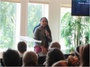 Sarah Jakes-Roberts sharing her personal story with Nashville residents