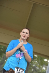 Mercy graduate, Holly, sharing her story at Run for Mercy 2015