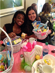 Monroe residents December (R) and Hope (L) pose with their Easter baskets.